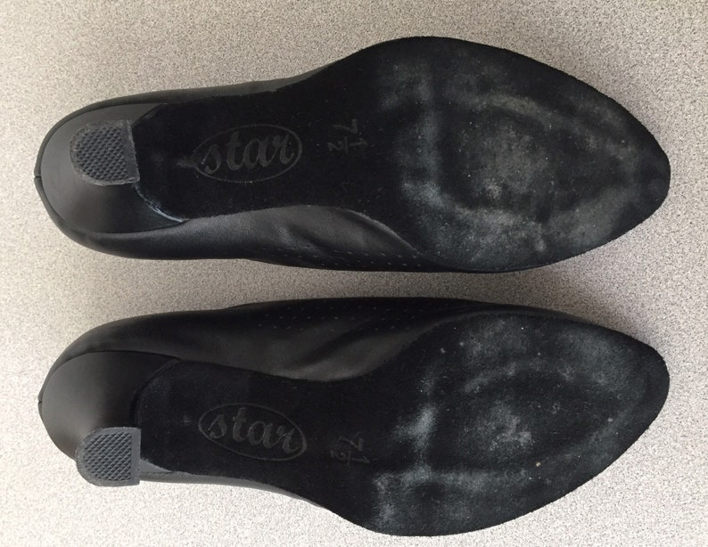 Good Condition 2 12 inch heel Size 7 12 Black Dance Shoes with Laces Star Dance Shoes Vintage Ballroom Dance Shoes
