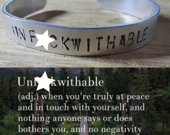 Unf*ckwithable Hand Stamped  Statement Bracelet