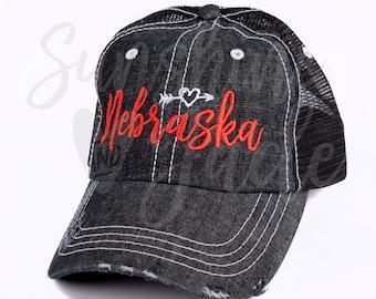 f0d6d93a204 Cute Nebraska Hat - Embroidered Nebraska Cap - Ladies Nebraska Cap -  Women s Nebraska Cap