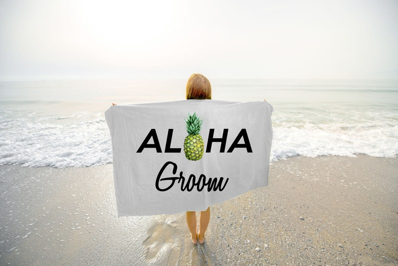 Aloha Groom Pineapple Towel  Groom Beach Towel  Bride and image 0