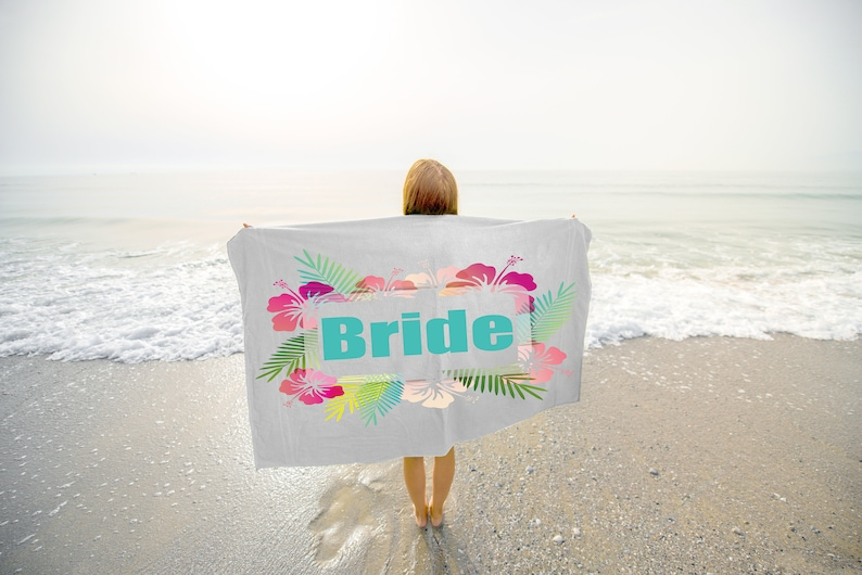 Hibiscus Bachlorette Party Beach Towels  Bride Beach Towel  image 0