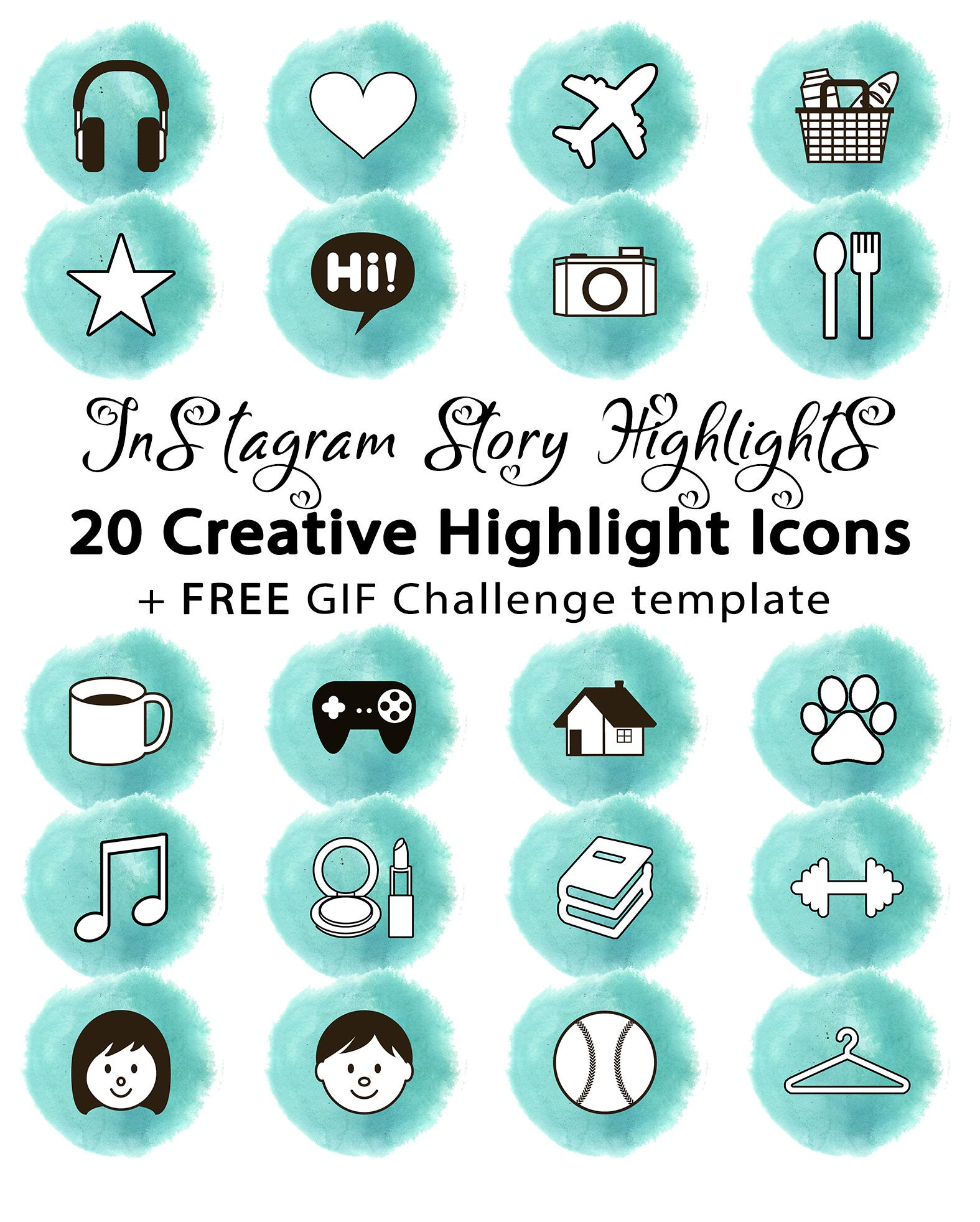 20 Insta Stories Highlight Cover Icons | INSTANT DOWNLOAD | Blue watercolor  | 20 icons + free gif challenge template