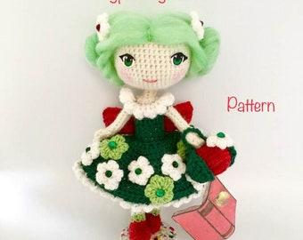 Apple Blossom Pattern doll, amigurmi doll, crochet doll pattern, fairy doll crochet pattern, PDF pattern doll