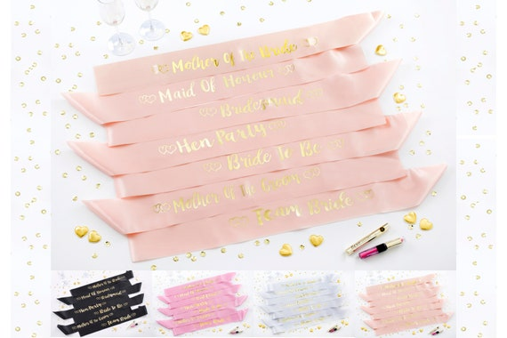 Bride Hen Party Sash Bridal Shower Party Accessory Bachelorette Party Personalised Sashes Rose Gold Birthdays Baby Shower Gifts Bride