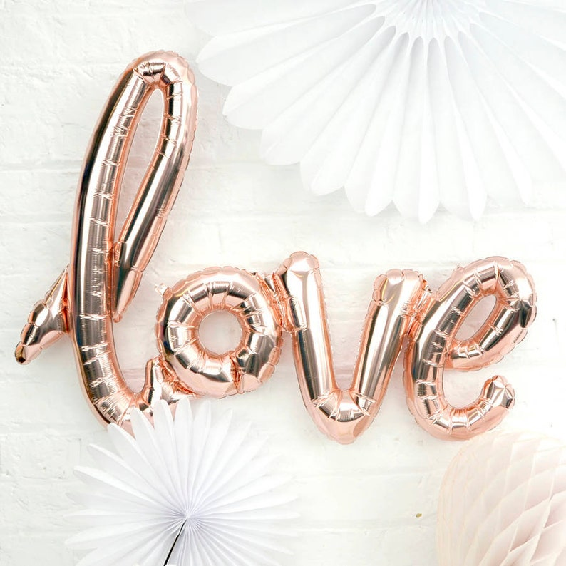 Birthdays and Hen Party Luxury 30 Giant Rose Gold Love Balloon Shiny Foil Script The Perfect Decor For Weddings Engagements