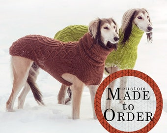 Sighthound sweater / 100% wool / Custom made / Winter dog coat / Hand knit / Greyhound type coat / All sizes from small to extra large