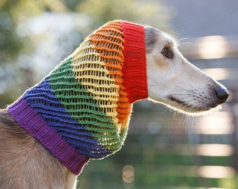 Rainbow snood for dog / 100% cotton / custom made to order / snood for saluki, afghan hound, spaniel or other / hand knit dog snood