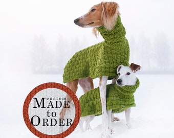 Long wool dog coat / custom made to order / winter dog sweater / hand knit 100% wool / available in all sizes from small to extra large