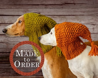 Wool dog hat with tassels   Custom made to order   All breeds, all sizes   Extra small to extra large   Hand knit dog snood