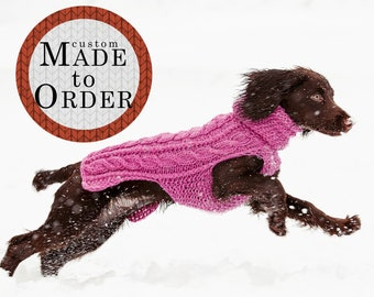 Sweater for dogs / 100% wool / Custom made to order / Winter dog coat / Hand knit / Available in all sizes from small to extra large