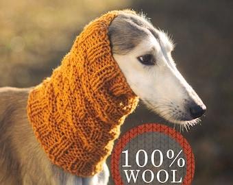 Greyhound snood / 100% wool / Custom made snood for dog / Winter snood for greyhound type dogs / Made to order