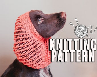Lace dog snood knitting pattern / Indoors snood for dog / Written and chart knitting instructions / Suitable for all sizes