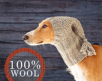 Greyhound hat / 100% wool / Winter snood for greyhound type dogs / Made to order