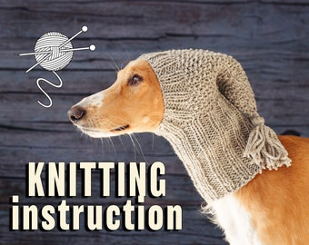 Illustrated knitting pattern for dog hat / Step-by-step knit guide / Winter dog snood / Suitable for all sizes