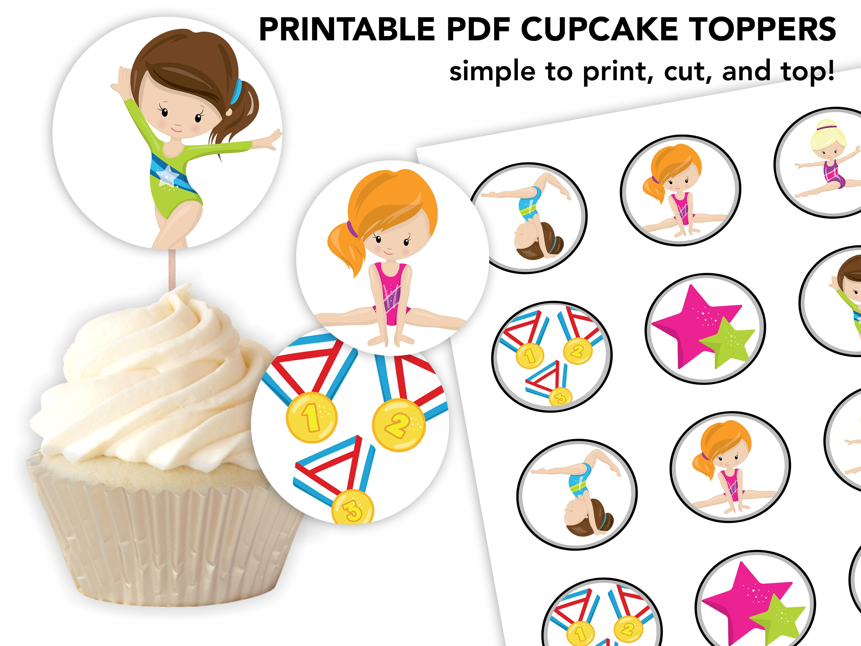 Gymnastics Girls Cupcake Toppers Birthday Party