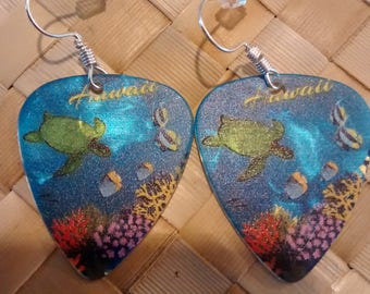 Beautiful Aquarium Hawaiian turtle & fish scene with coral. Guitar pick earrings with sterling silver hooks.
