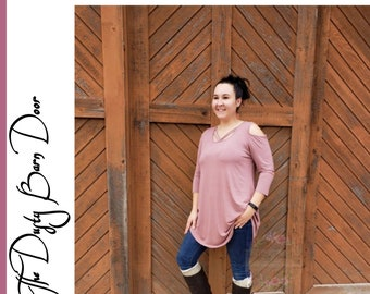 Plus Size Pink Cold Shoulder Tunic