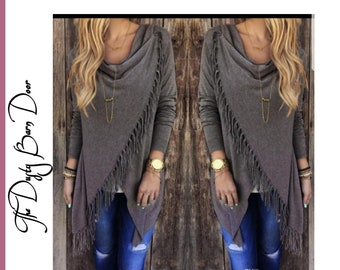 Grey Fringe Button Cardigan