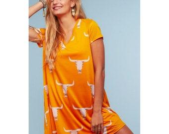 Orange Western Dress