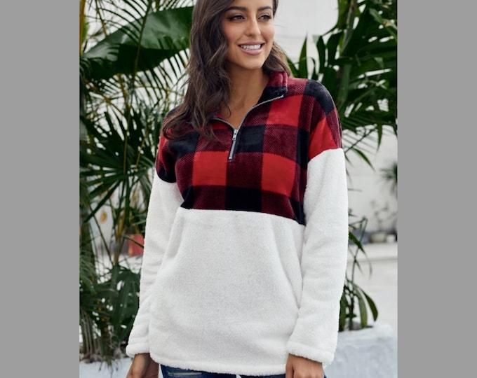 Buffalo Plaid Fuzzy Sweater