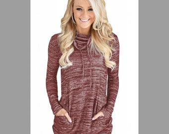 Heather Red Cowl Neck Sweatshirt