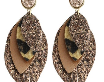 Gold Glitter Leopard Feather Earrings