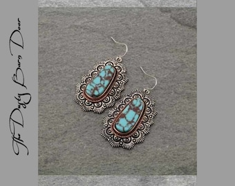 Turquoise Colored Stone Earrings