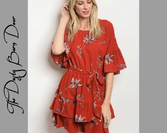 Red Floral Dress Fall