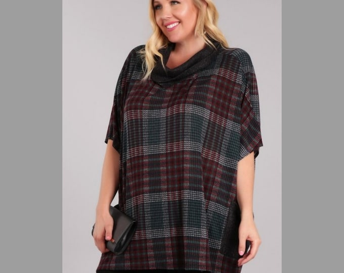 Abstract Plaid Top