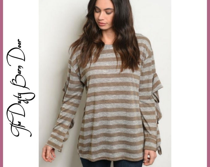Brown Striped Blouse