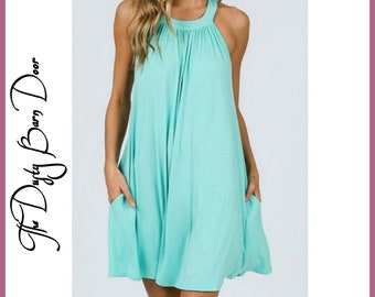 Turquoise Blue Flowy Dress