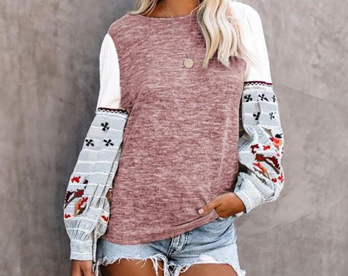 Pink Printed Knit Blouse
