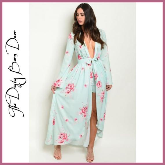 Mint Kimono & Matching Shorts