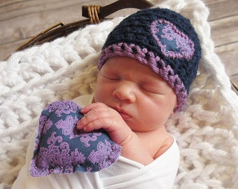 Heart Newborn Baby Girl Hat and Stuffie Set, Photography Prop Hat