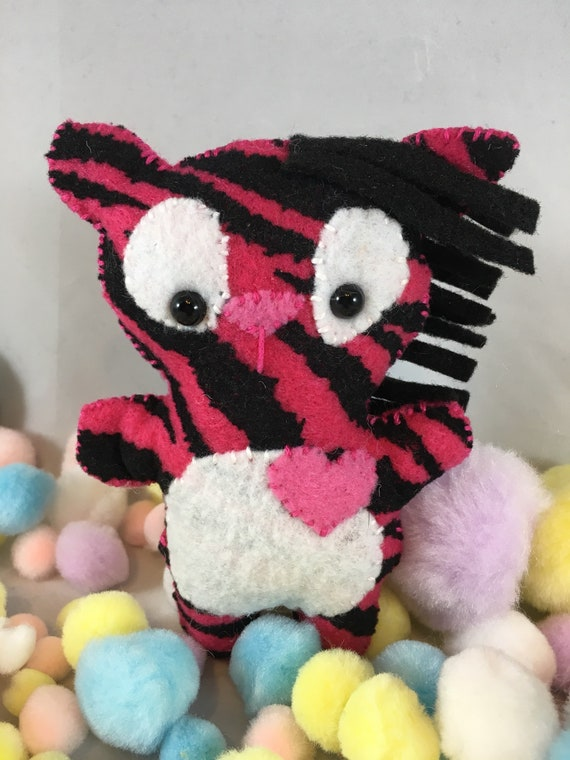 Hot Pink Zebra With Pink Heart Detail Etsy