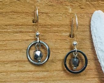 Bluegrey stone with metal hoop drop earrings