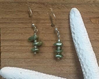 Seafoam green stone drop earrings