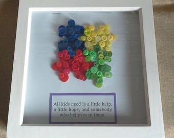 Autism Jigsaw Puzzle Button Art