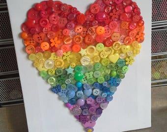 Rainbow Heart Button Art