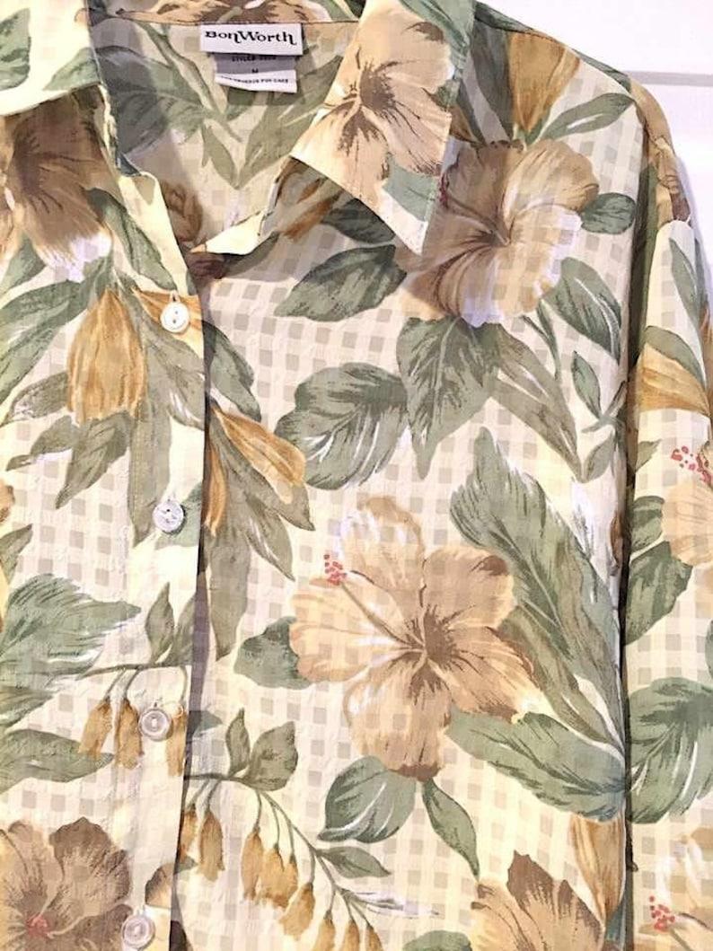 Yellow Blouse Floral Print Top BONWORTH Sz M Long Sleeves moderately SHEER Yellow Green Print