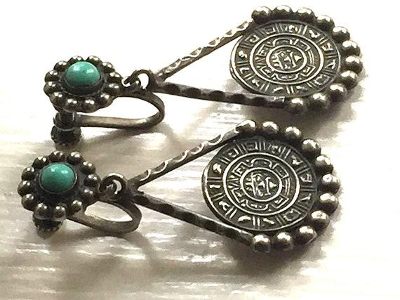Old Mexico Silver Dangle Drop Screw Back Earrings