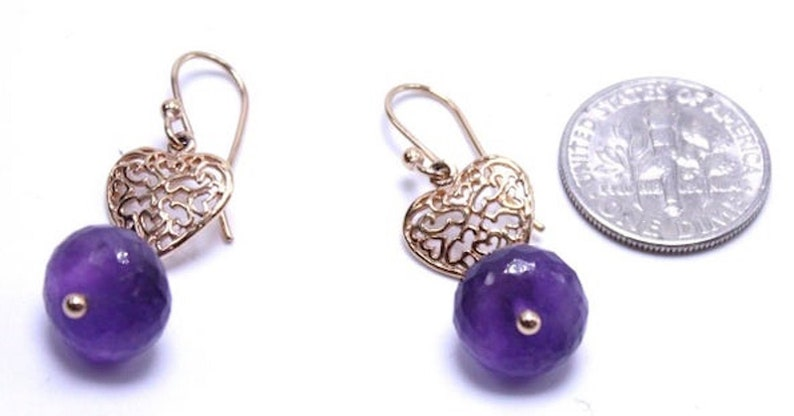 Amethyst Heart Earring 22 Karat Gold Plated Filigree Classic Vintage Dangle Earrings ~ Faceted Amethyst Beads ~ Gold Plated Hooks