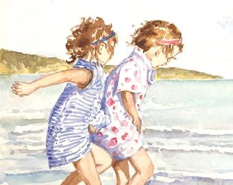 Children playing in the sea original watercolour