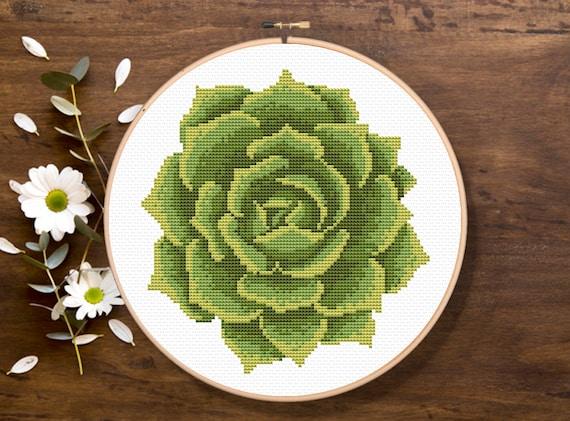 Succulent Cross Stitch Pattern, Plants Cross Stitch Pattern, Nature Pattern, Modern Cross Stitch Pattern, Download PDF #ff026