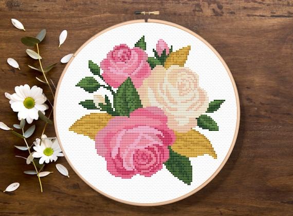 Roses Cross Stitch Pattern, Flowers Cross Stitch Pattern, Nature Pattern, Modern Cross Stitch Pattern, Download PDF #ff023