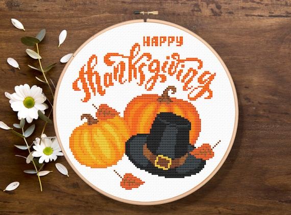 Happy Thanksgiving Cross Stitch Pattern, Thanksgiving Cross Stitch Pattern, Holiday Cross Stitch Pattern, Download PDF #hol010