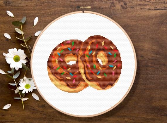 Chocolate Donuts, Donut Cross Stitch, Dessert Cross Stitch Pattern, Kitchen Cross Stitch, Modern Cross Stitch Pattern, Download PDF #fd028
