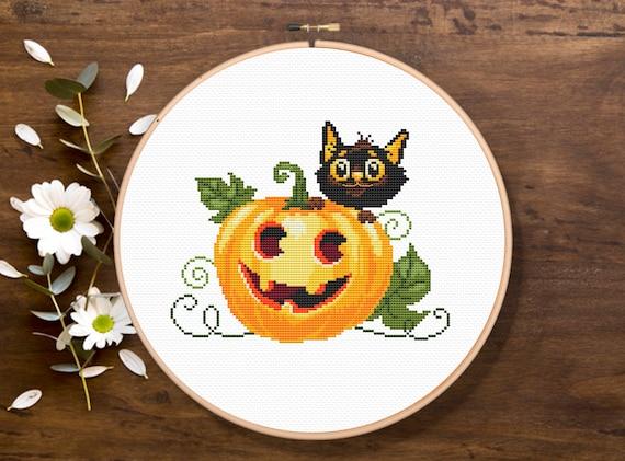 Halloweens Cat Cross Stitch Pattern, Halloween Cross Stitch Pattern, Holiday Cross Stitch Pattern, Download PDF #hol004