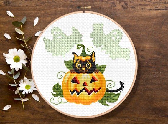Cat in the Pumpkin Cross Stitch Pattern, Halloween Cross Stitch Pattern, Holiday Cross Stitch Pattern, Download PDF #hol002