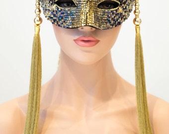 Luxury Masquerade Female Mask, Gold & Violet Beads